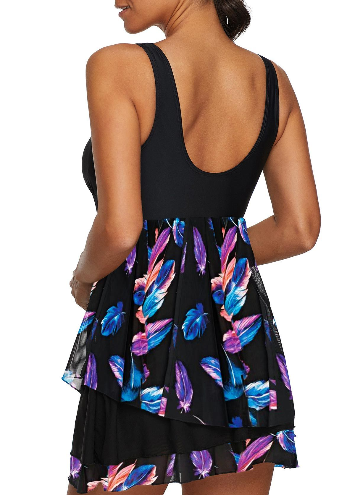 c6bc38499 Feather Print Scoop Back Padded Swimdress and Panty | Rosewe.com - USD  $30.49