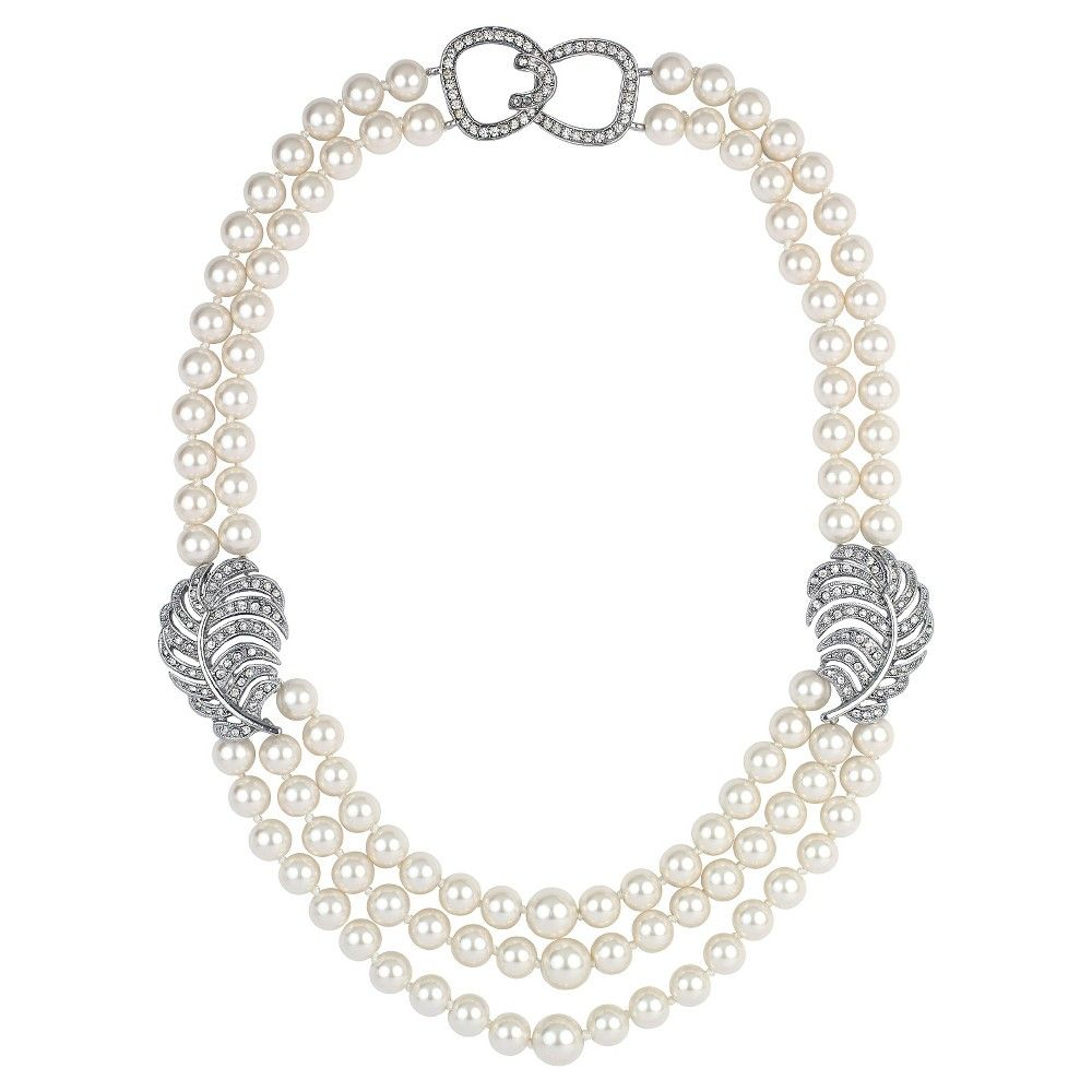 Women's Kenneth Jay Lane 3 Row Necklace with Simulated Pearls and Crystal Leaf - Silver(18), Silver/Cream/Clear