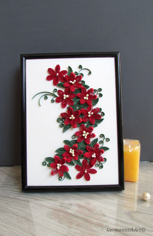 3d Red Flower Wall Art Decor Framed Paper Art Framed Flower Art