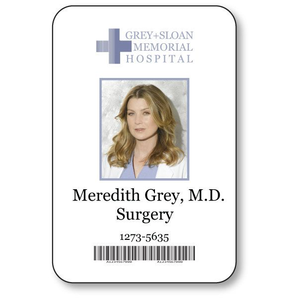 Meredith grey doctor on greys anatomy t v show magnetic for Hospital id badge template