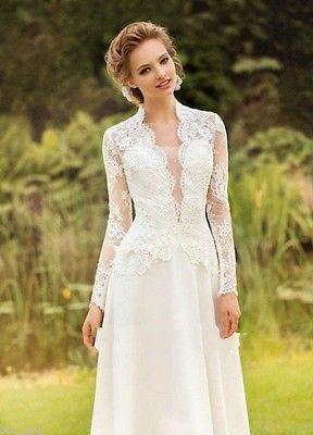 568edabee27 Neu Vintage Spitze Brautkleid Elfenbein Langarm Abendkleid Partykleid  Ballkleid