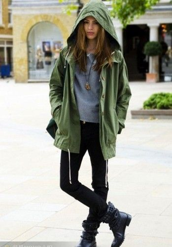 New Womens Army Green Military Parka Button Trench Hooded Coat ...