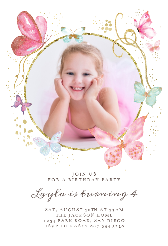 Magical Butterflies Photo Birthday Invitation Template Greetings Island Butterfly Birthday Invitations Free Birthday Invitation Templates Photo Birthday Invitations