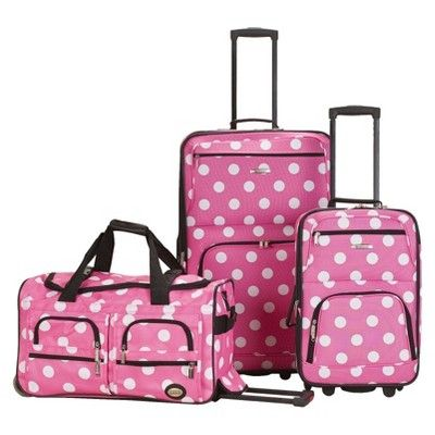 Rockland Spectra 3pc. Expandable Rolling Luggage Set - Pink Dot ...