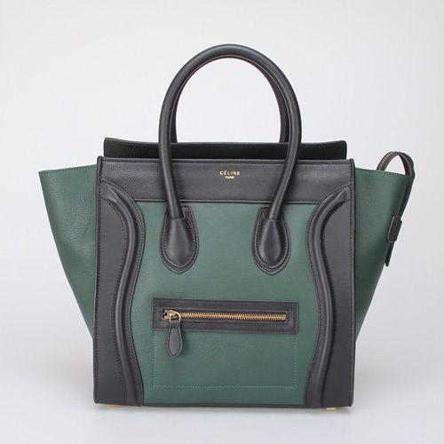 e58825bc06 Celine Mini Two Tone Tote Leather Bag (Green Black)