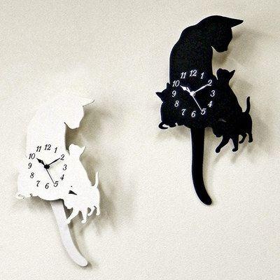 スロー振り子時計ブラック壁掛け時計振り子ネコアンティークインテリア北欧おしゃれ可愛い猫猫雑貨キャットCatねこ保護猫カフェネコリパブリック猫助け小物グッズアイテム白猫黒猫ネコ市ネコ座