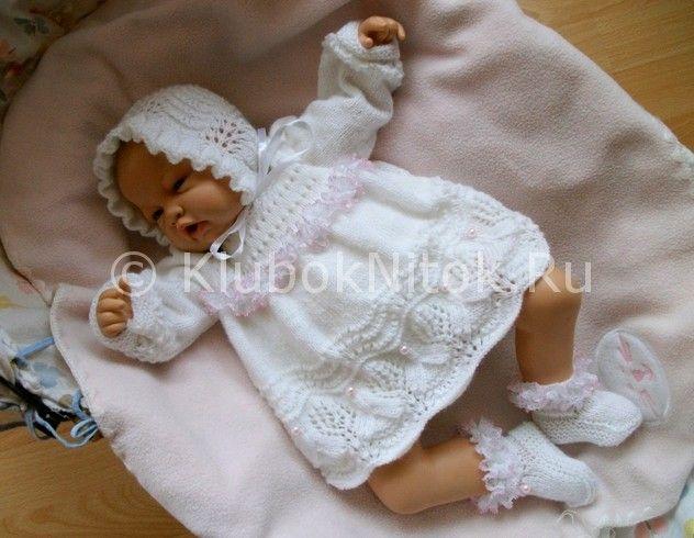 Схема ажурного платья спицами на новорожденного6