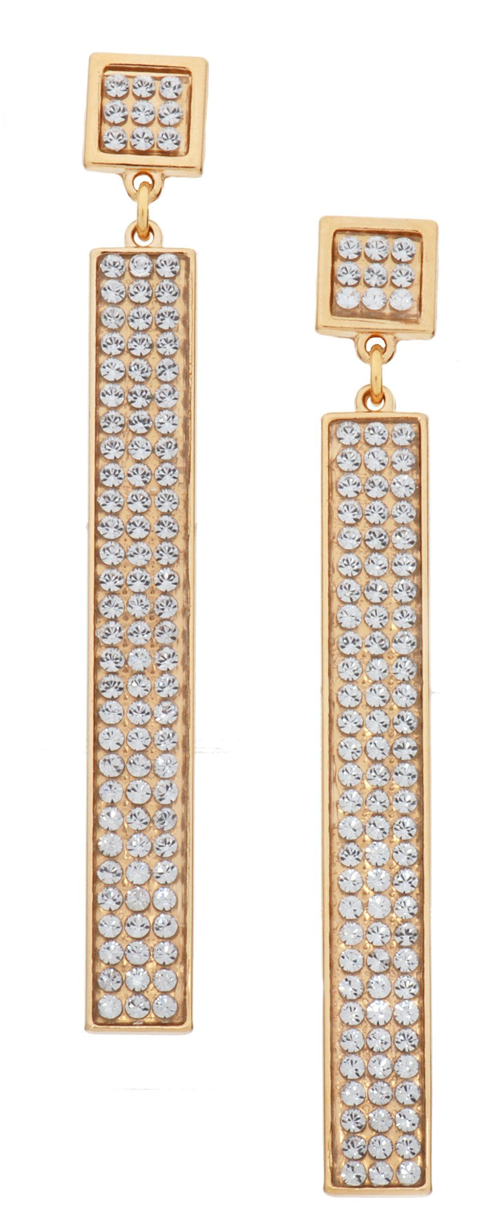 """L. Erickson Marie Crystal Bar Earrings - Crystal/Gold. Made in Germany. Created with Swarovski® crystals. Set in gold-plated brass. Posts with push back for pierced ears. Dimensions: 2 1/2"""" drop, 1/4"""" wide."""