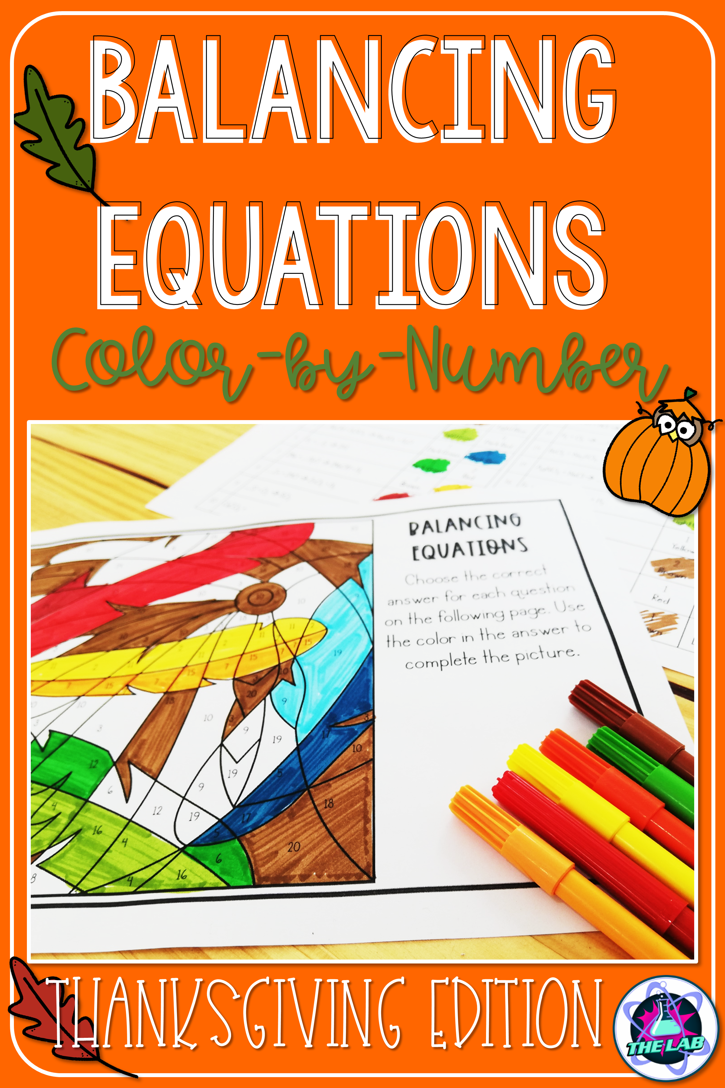 Balancing Equations Science Color By Number Thanksgiving