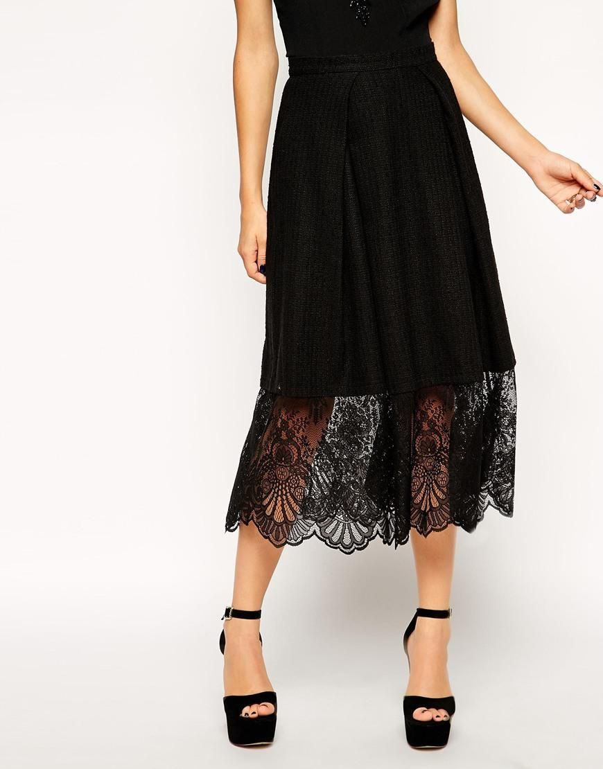 Midi Skirt With Lace Hem at ASOS