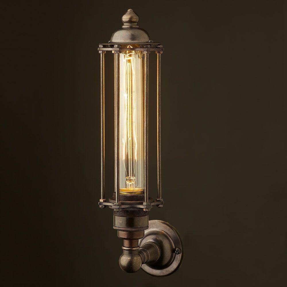 Bronze Medium Bulb Cage Upright Wall Lamp Edison Light Globes Pty Ltd Lamp Wall Lamp Wall Lights