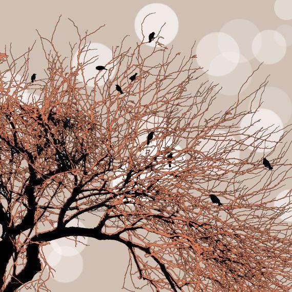 Chor Baum Kunst/Fotografie Landschaft Vögel Natur Orange von ArtBJC, $12.00