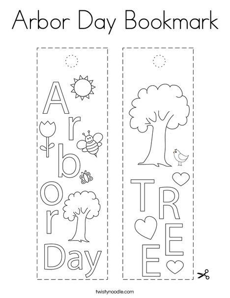 Arbor Day Bookmark Coloring Page - Twisty Noodle in 2020 ...