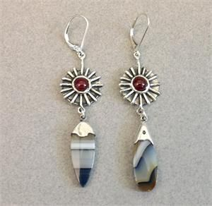 "Earrings - Montana Agate, Carnelian, and Sterling Silver by George ""Shukata"" Willis (Choctaw)"
