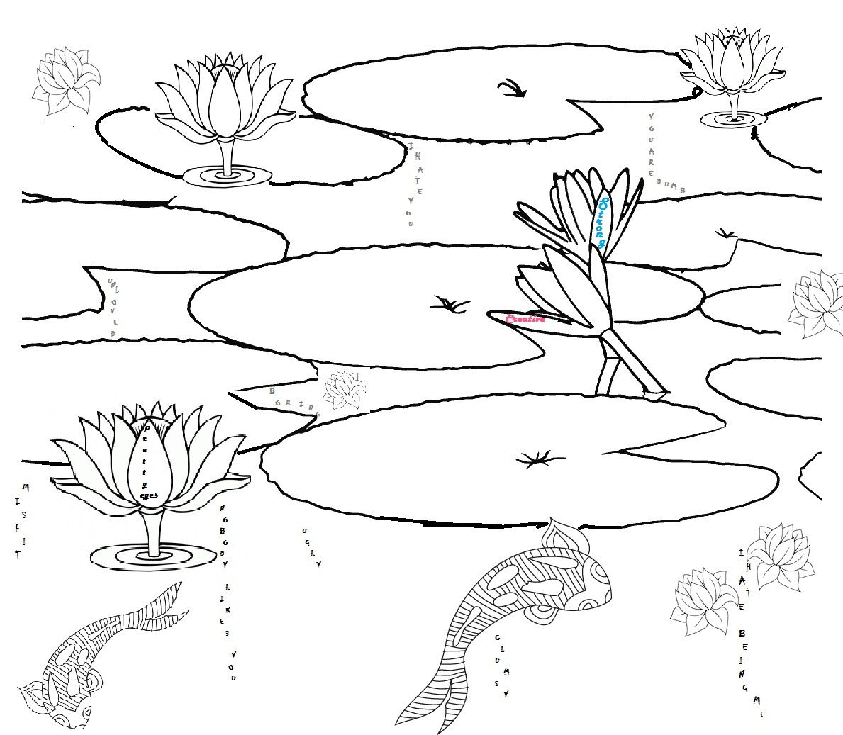 Printable Pond Habitat Coloring Page Pond Habitat Pond Plants