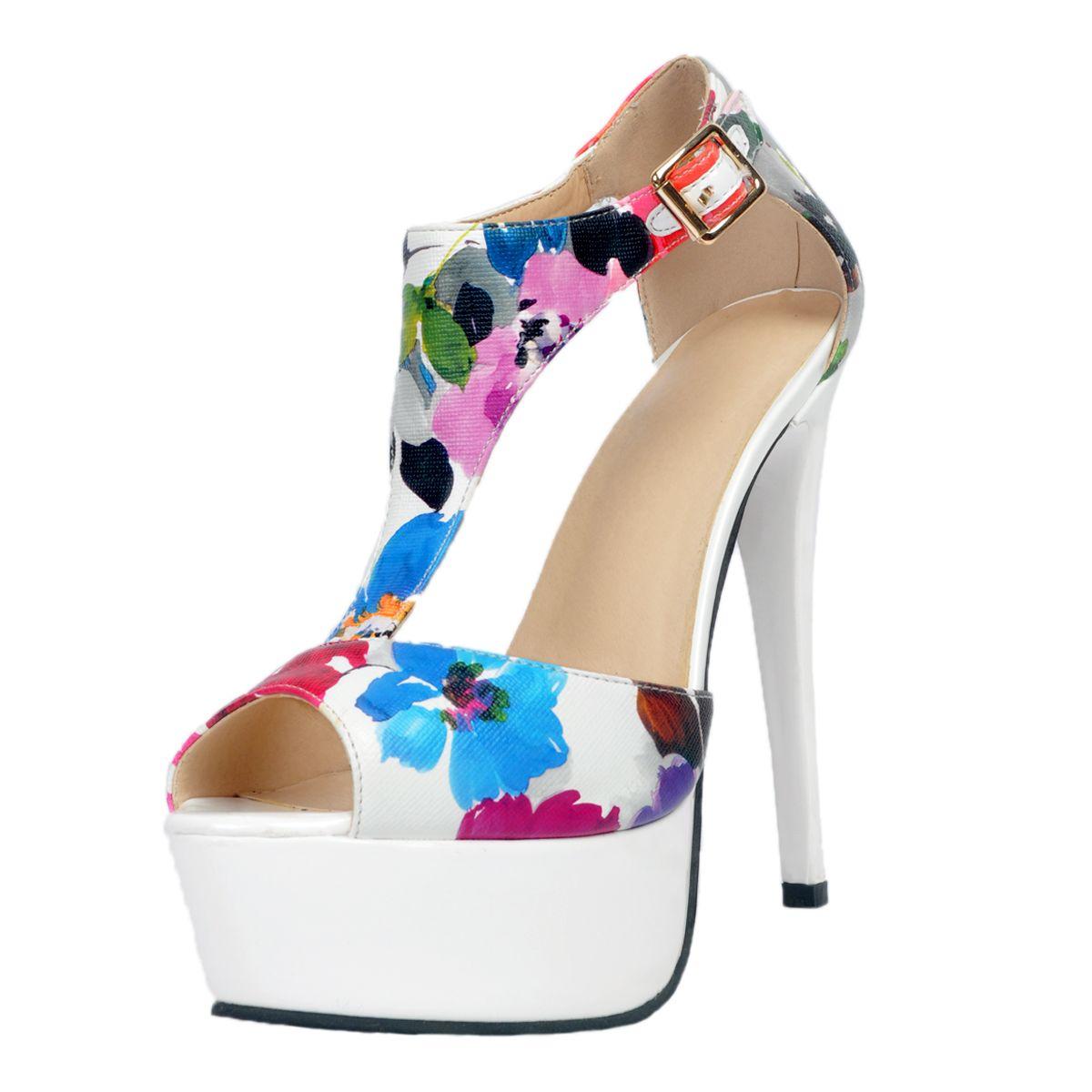 White flower platform ankle strap high heels kiwicedar womens white flower platform ankle strap high heels mightylinksfo