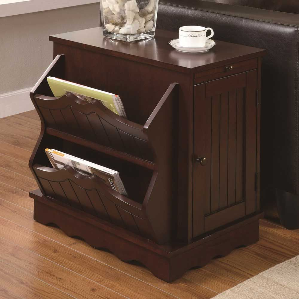 Japanese End Table Wood Accent Stand Modern Lamp Furniture: Coaster Contemporary Side Table Cabinet With Magazine Rack