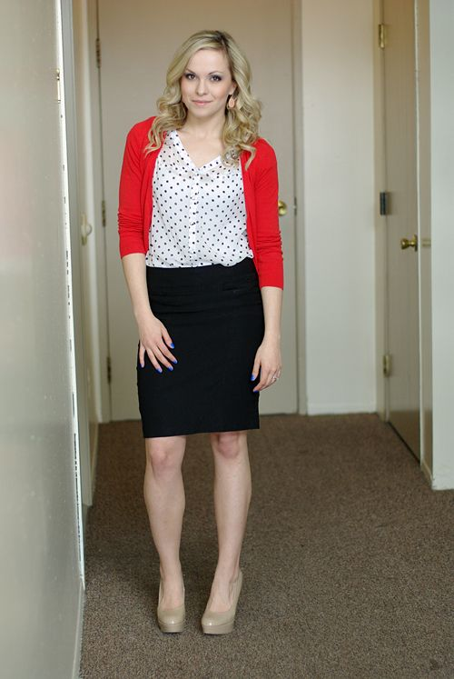 af82b2cdc8 Black pencil skirt, white and black polka dot blouse, red cardigan, neutral  shoes