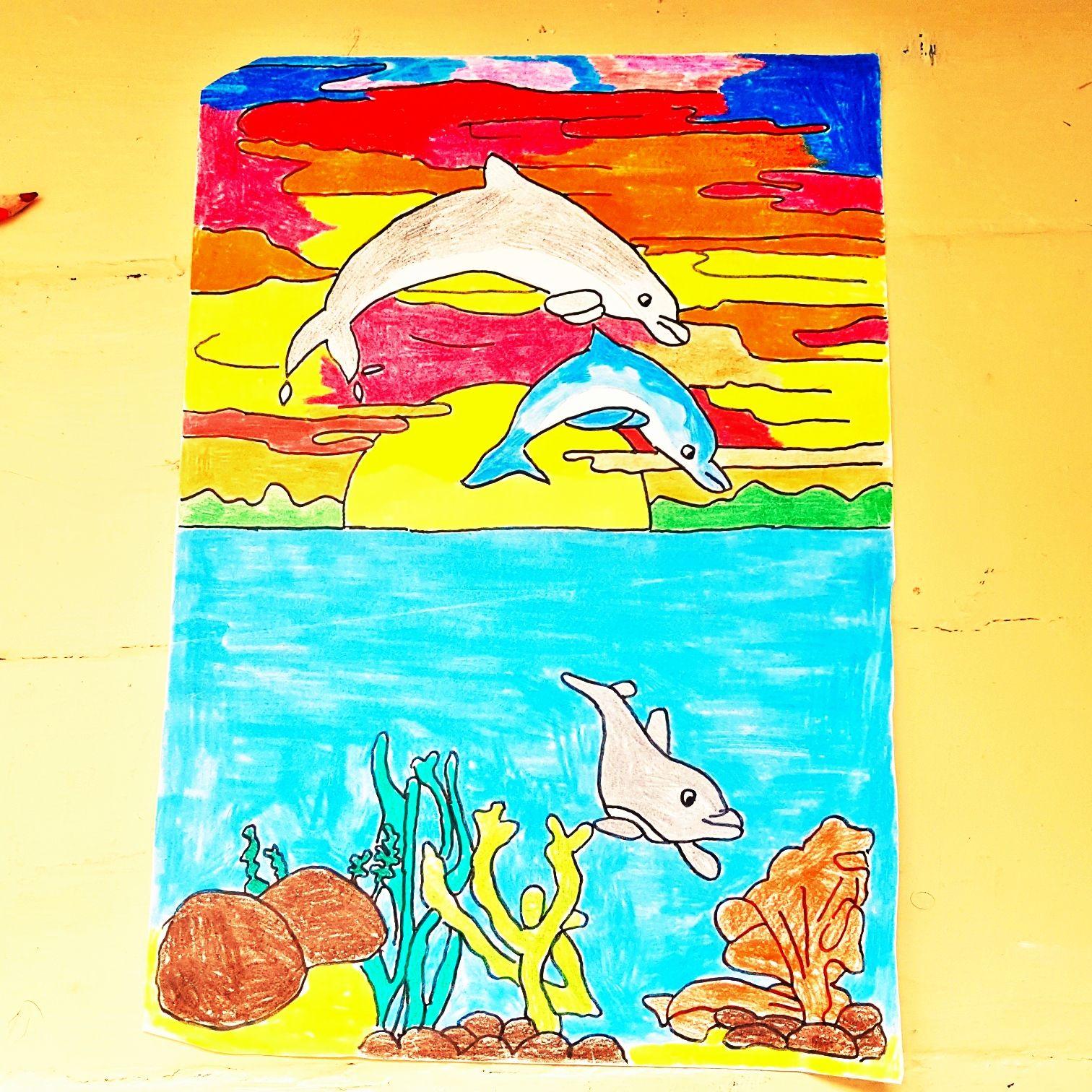 Meine Zeichnung von Delfinen