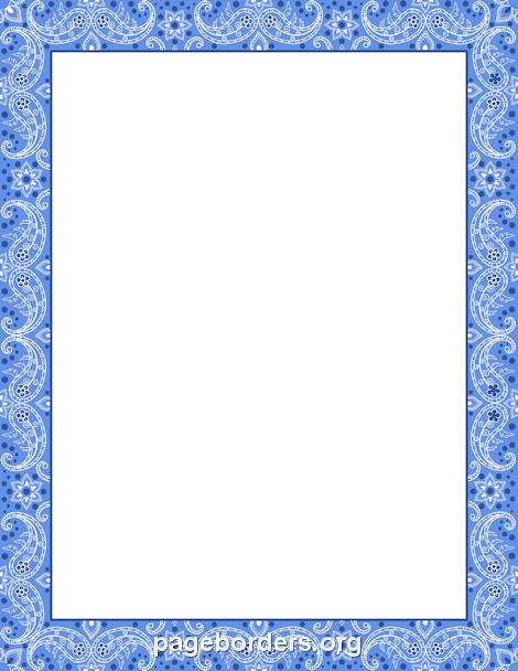 Printable blue bandana border use the border in microsoft for Blue certificate border template