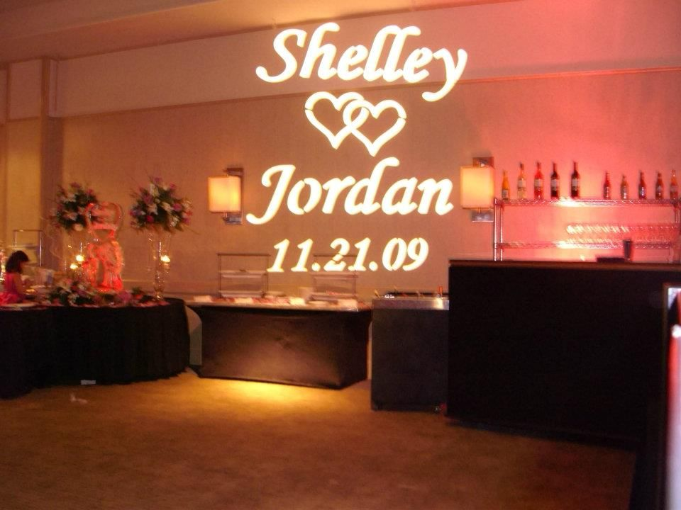 Wedding DJ Gobo Projection Bride Grooms Name in Lights with