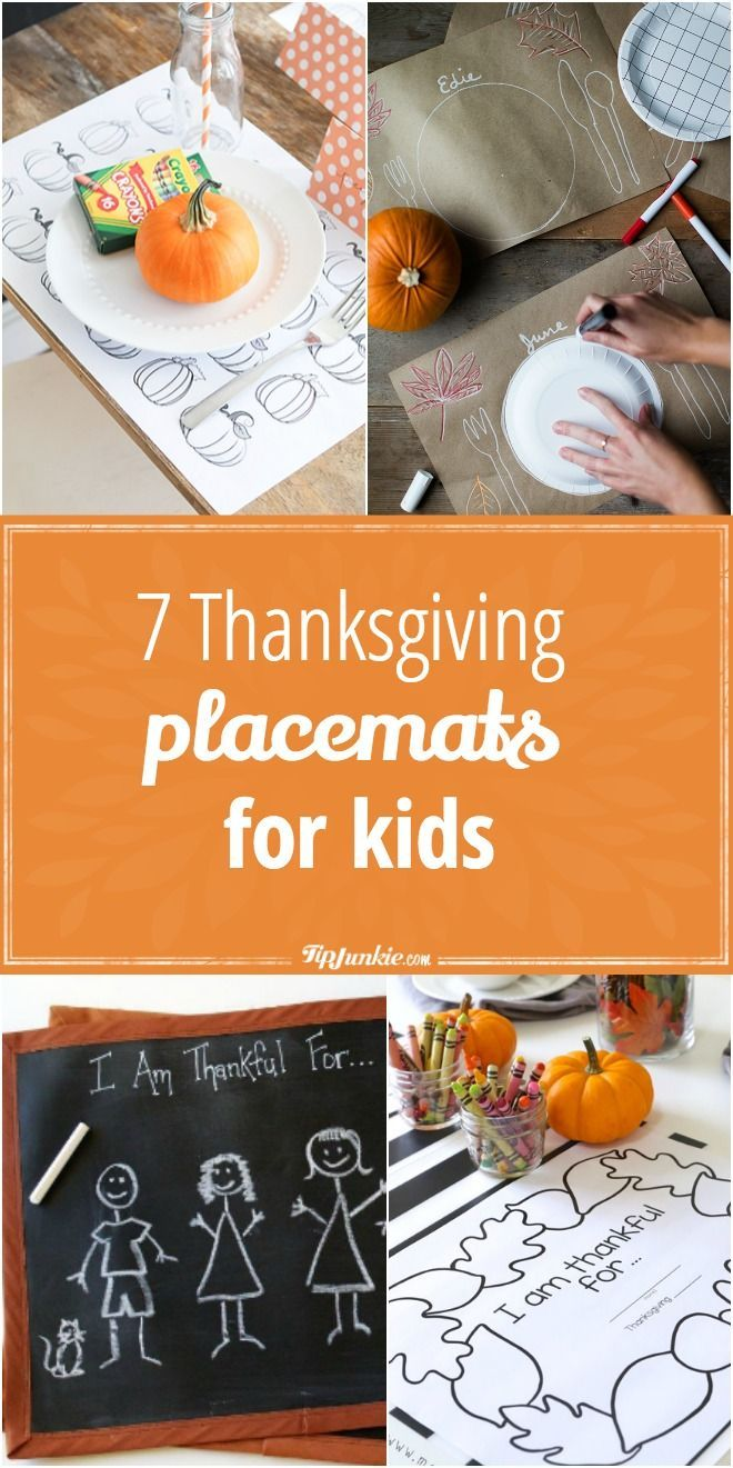 7 Thanksgiving Placemats for Kids