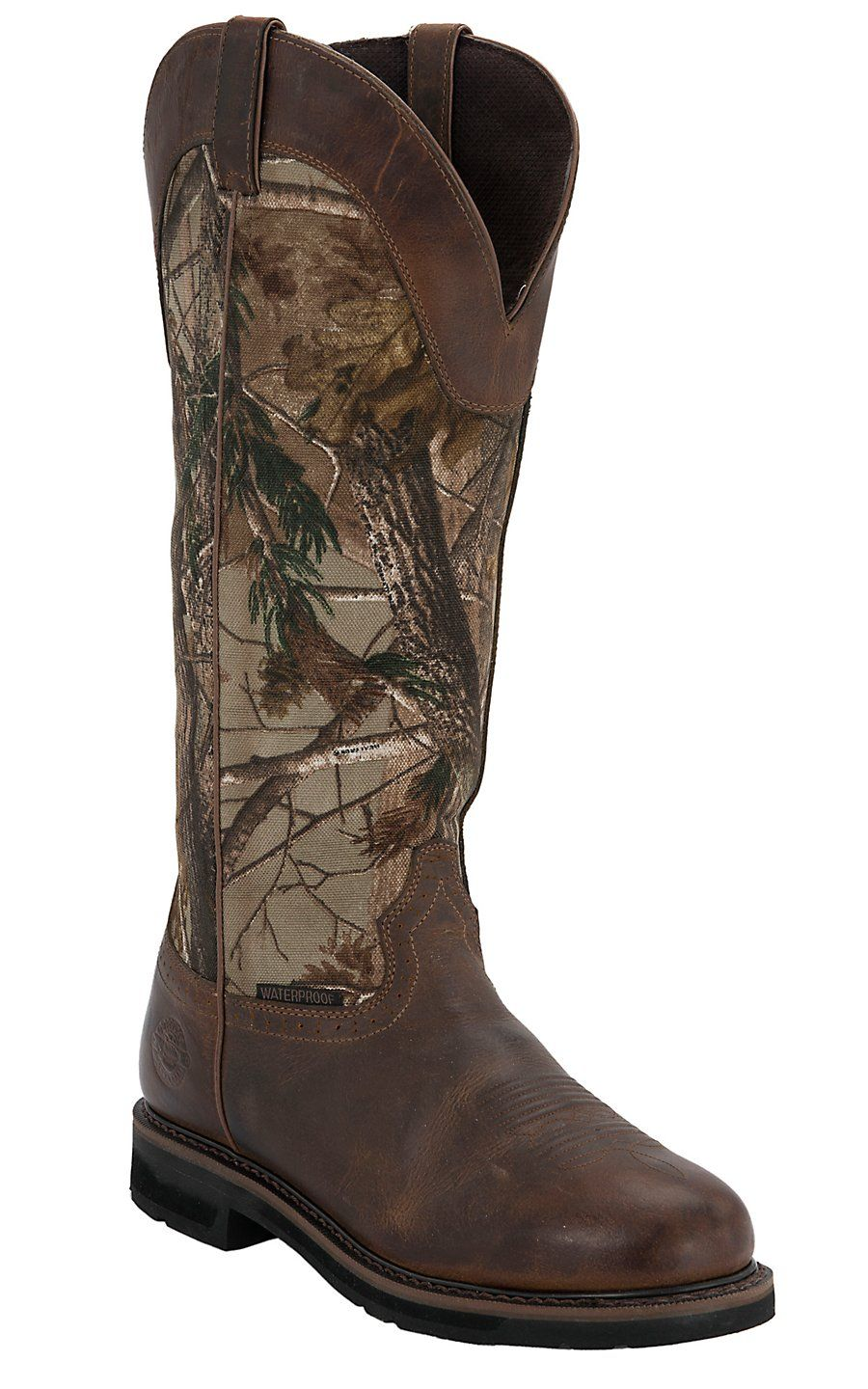 Justin 174 Stampede Men S Rugged Tan With Real Tree Camo