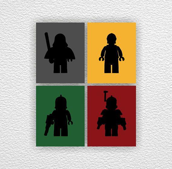 LEGO Star Wars Silhouette Stencil Boy Room By