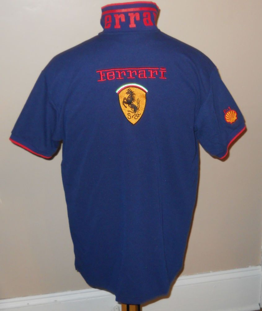 VTG Ferrari F-1 Mens Polo Golf Shirt XL Navy Blue Embroidered Logo Print  Collar  Ferrari  FerrariF1 e24faf5a2