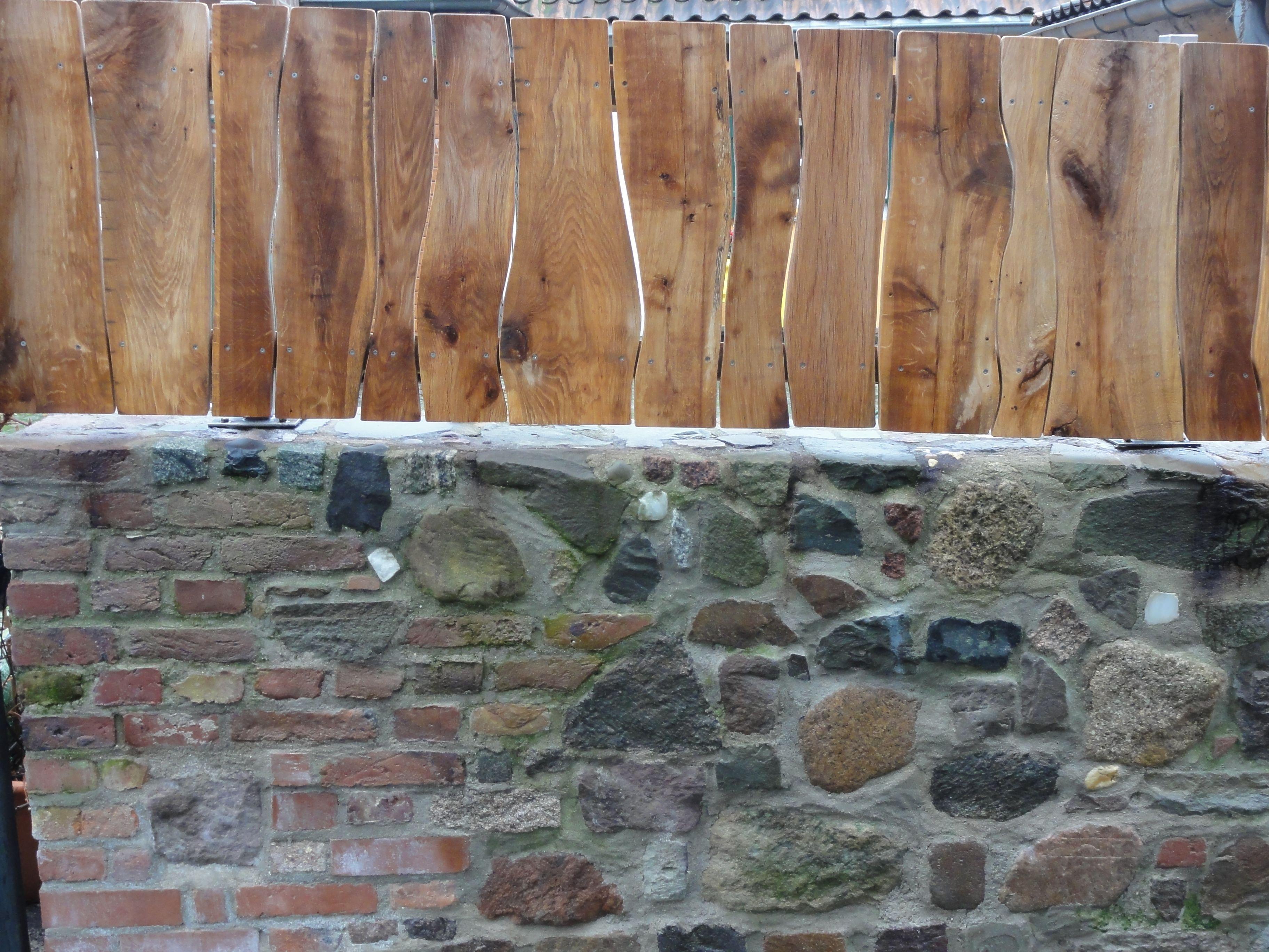 Mauer Zaun Sichtschutz Fertig Zaun Schwartenbretter Und