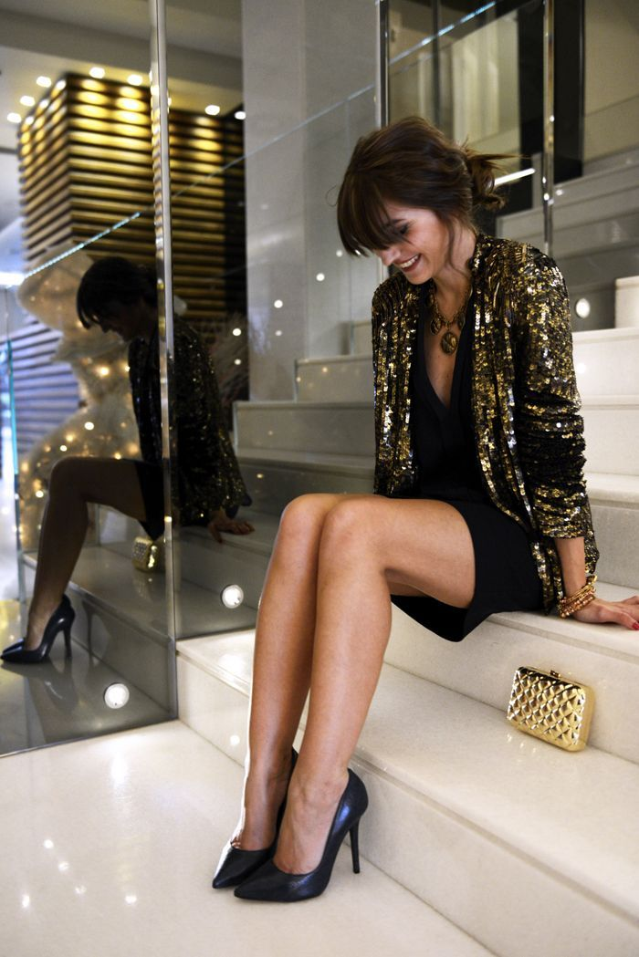 golden sequin jacket, black cocktail dress, black leather pumps, golden quilted leather clutch for women