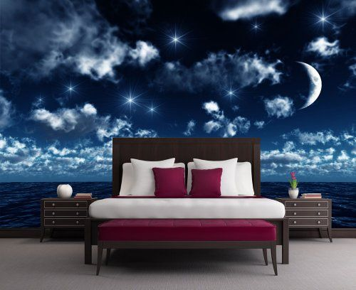 Sternenhimmel Schlafzimmer ~ Fototapete mond meer kt größe cm sternenhimmel wasser
