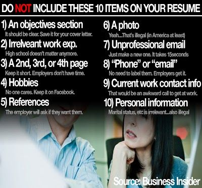 Carter Gibson - Google+ - Ten Things to NOT Include on your Resume - not to include in resume
