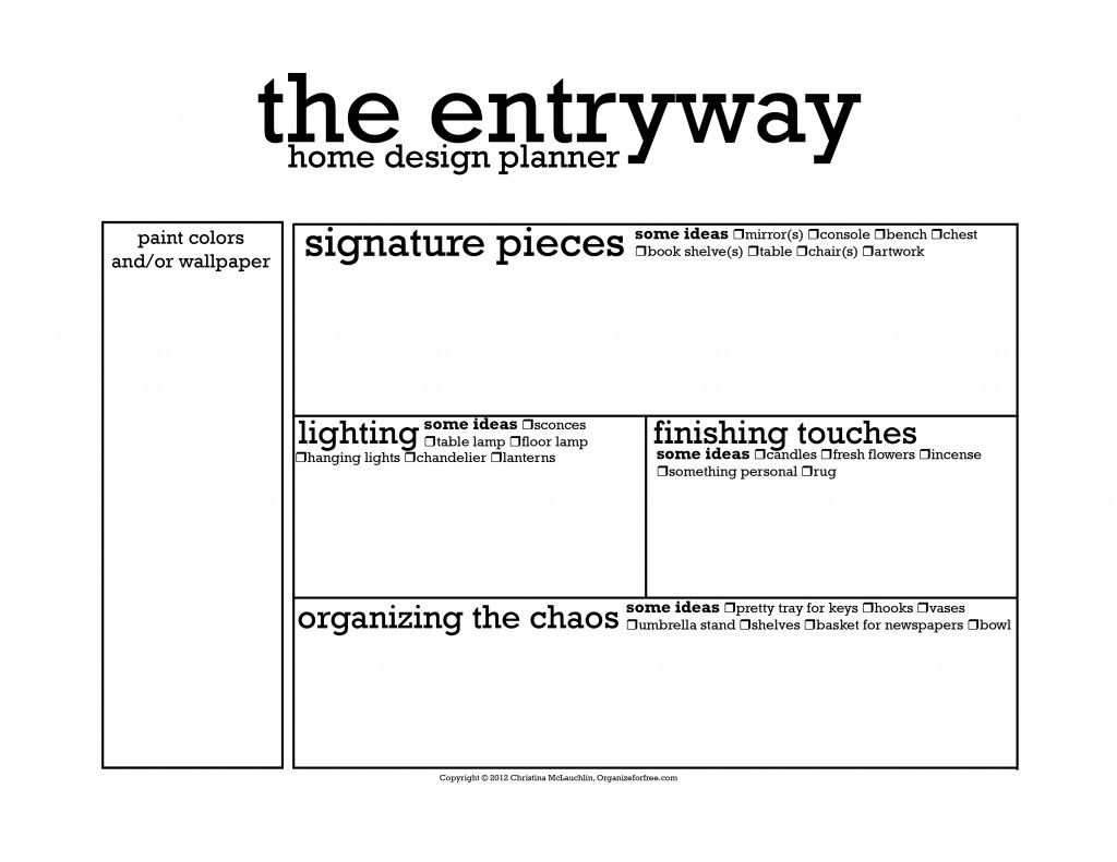 Home Design Planner Free Printable Worksheet The Entryway