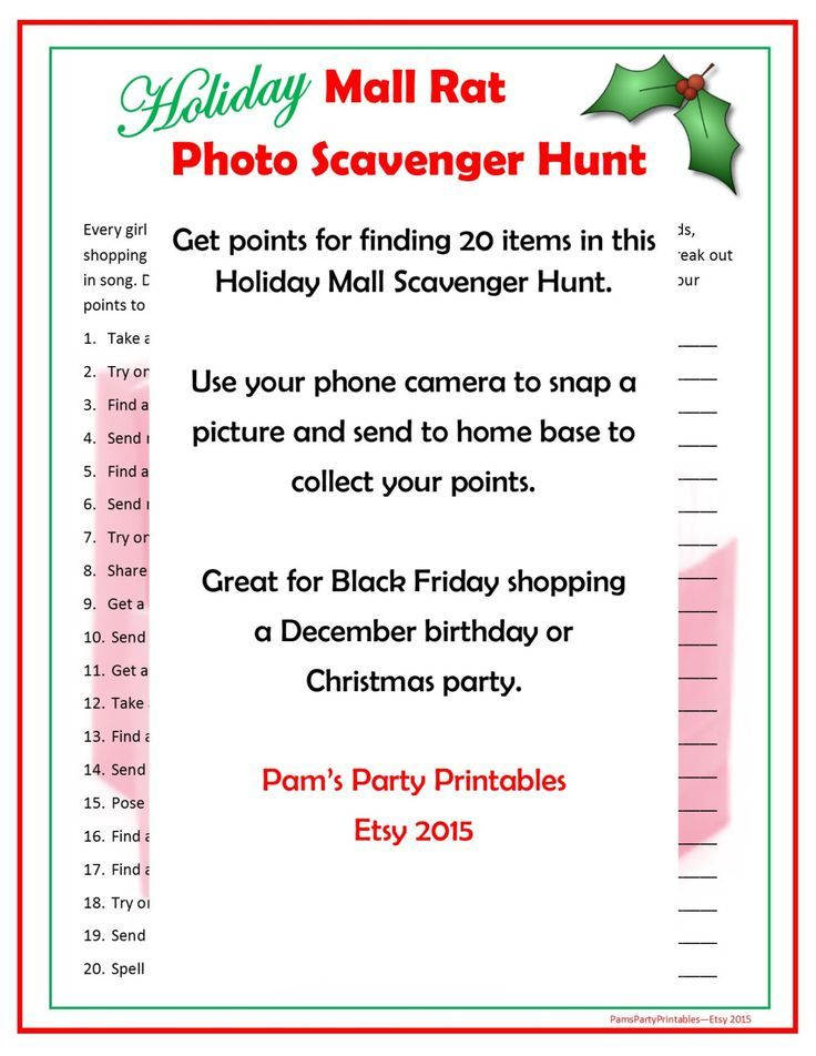 Holiday Mall Rat Scavenger Hunt Great for Black Friday