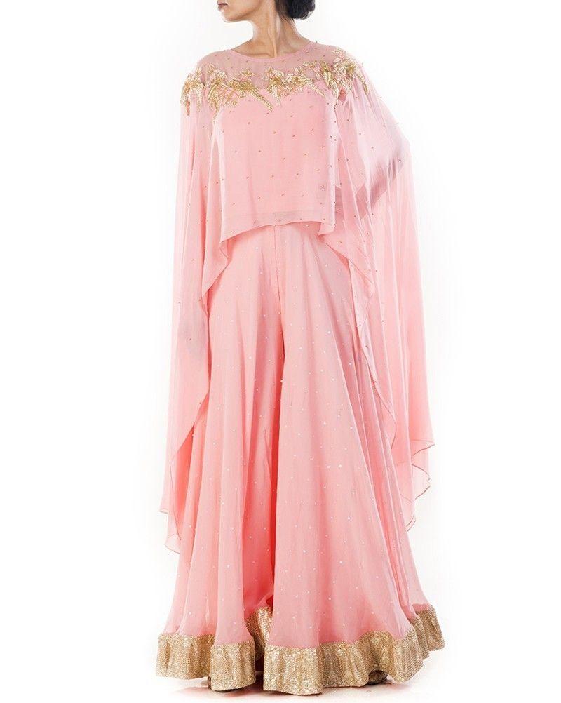 Designer cape with sharara pant in pink colouraaa simaaya