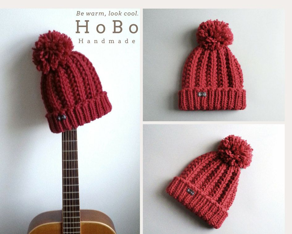 c4228e234d151 The HoBo 'Lofty' handmade bobble hat. Thick chunky hand knit beanie hat  with large removable Pom Pom. Dark red wool blend. Large Ladies/Mens by ...