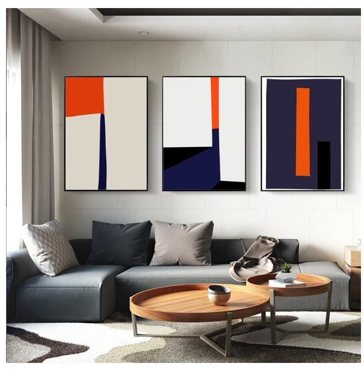 Vivid navy and burnt orange organic shapes prints. This modern geometric design is a great way to tie in room colors while adding style and flare to any room. #Abstractwallart, #blueorangewallprint, #wallartprints, #wallartdecor, #wallartabstract, #wallartabovecouch