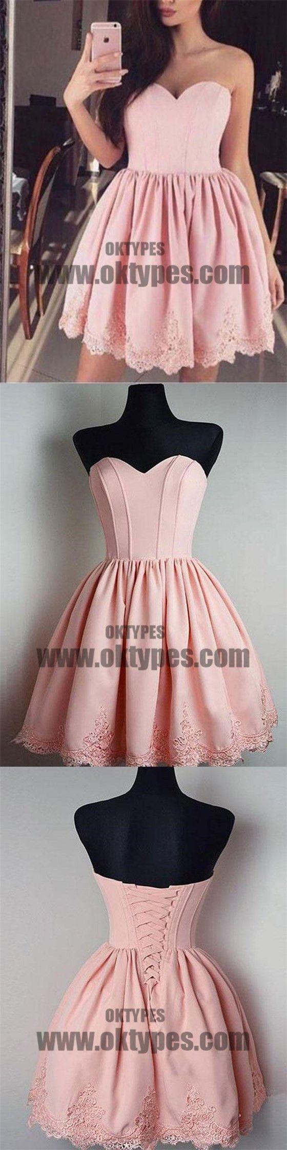 Cheap short simple cute sweetheart pink homecoming dresses