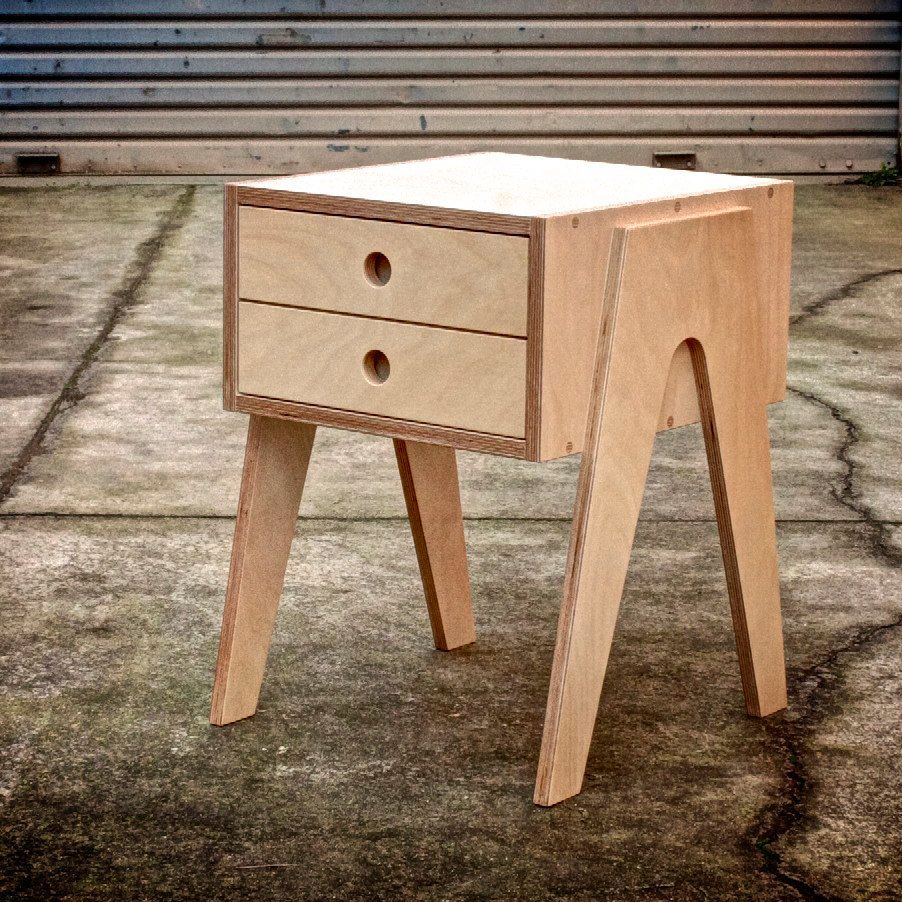 Bedside table with soft closing draw made from russian for Plywood bedside table