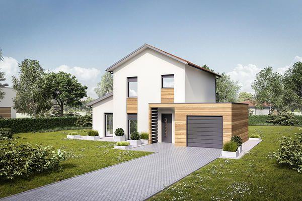 Incroyable Maison à étage Avec Garage En Toiture Plate Et Porche Du0027entrée   Mètre Carré
