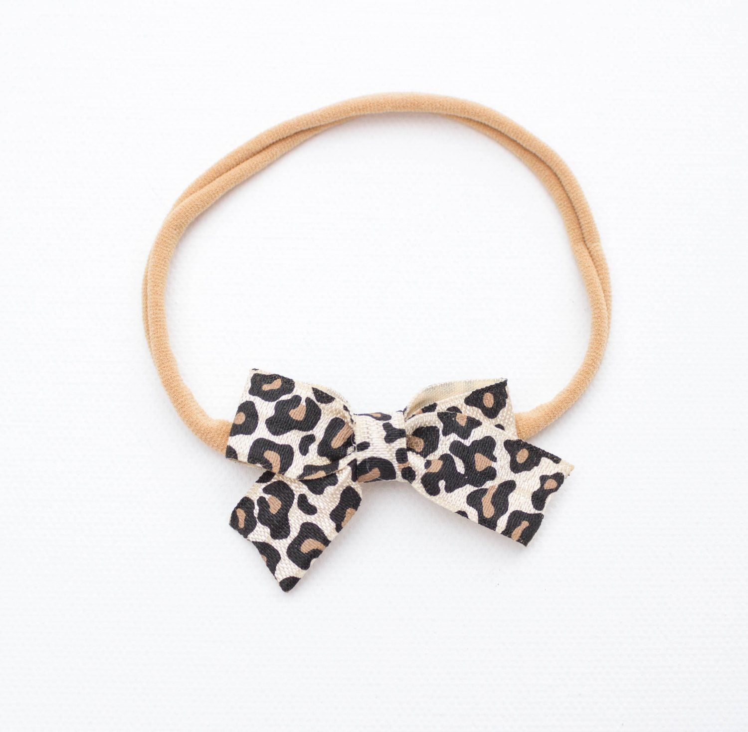Leopard Baby Bow Headband Or Clip Nude Nylon Headband