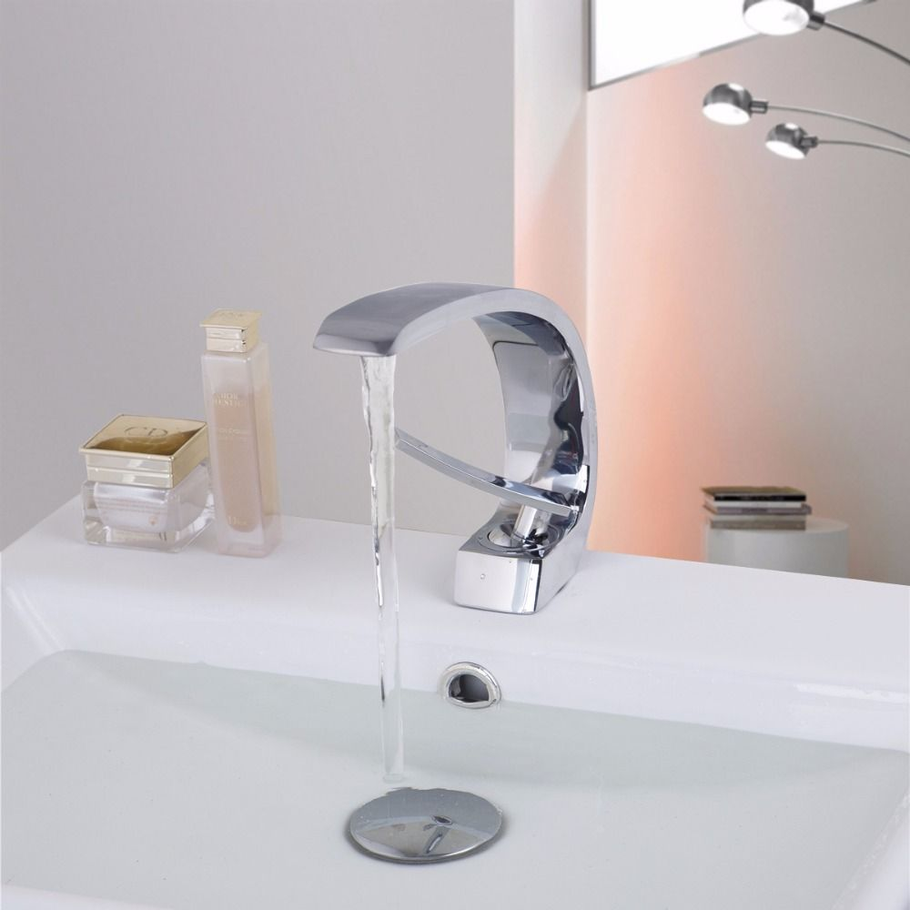 Contemporary Concise Bathroom Faucet Chrome finish Brass Basin Sink ...