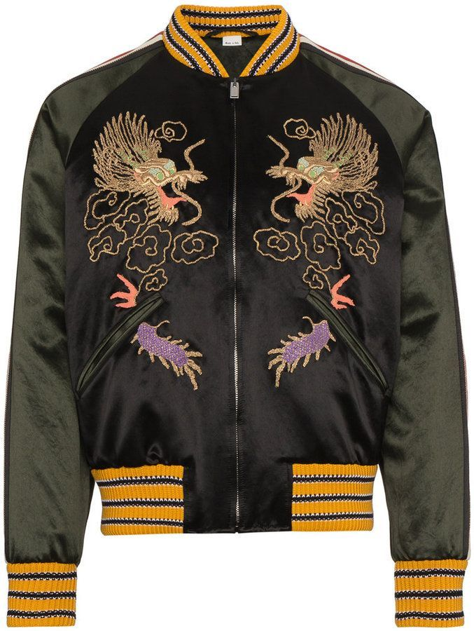 e9e9d241a Gucci GG Embroidered Dragon Bomber Jacket | Retro shirts | Black ...