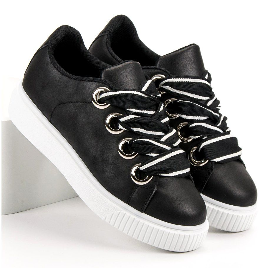 Obuwie Sportowe Z Brokatem Czarne Trainers Women Shoes Sport Shoes