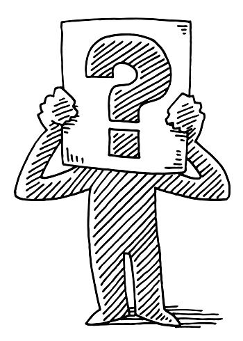 Cartoon Man Holding Sign Question Mark Drawing