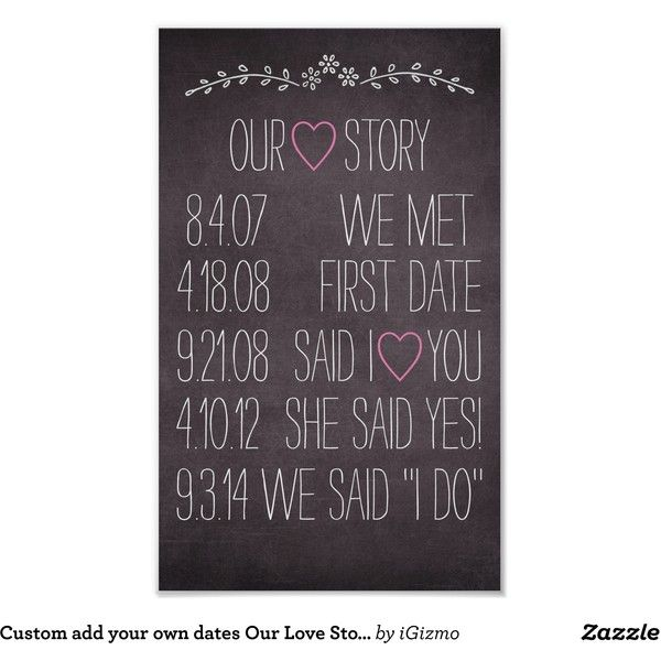 Custom add your own dates Our Love Story wedding Poster ($20) ❤ liked on Polyvore featuring home, home decor, wall art, framed wall art, paper wall art, framing posters and framed posters