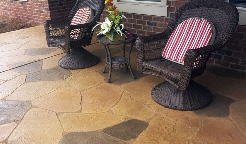Resurfaced Decorative Porch Patio Resembling Flagstone