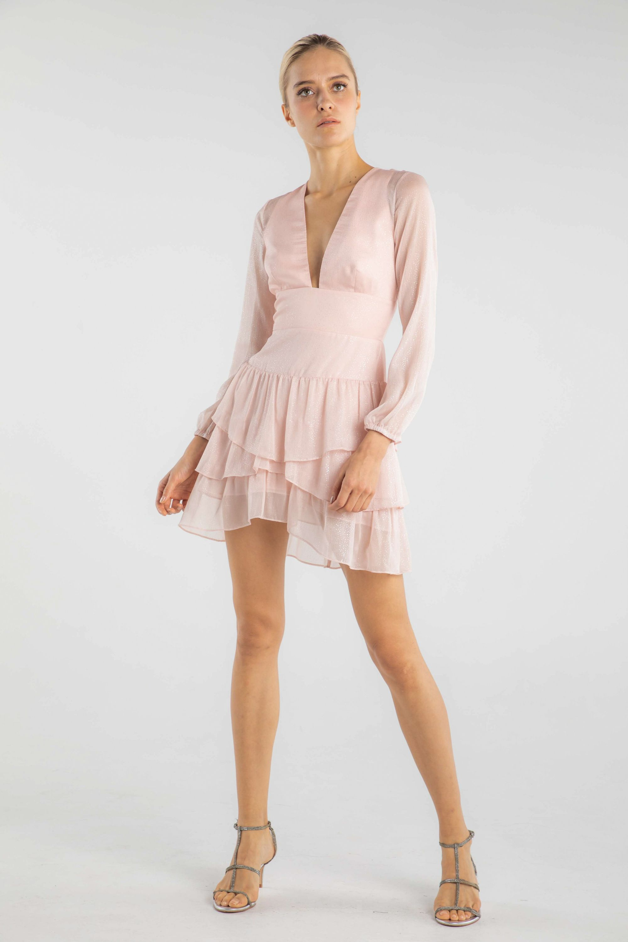 Pale Pink Chiffon Mini Dress With Layered Skirt Long Sleeves And Plunging Neckline Mini Dress Chiffon Mini Dress Mini Cocktail Dress [ 3000 x 2000 Pixel ]
