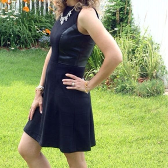 Banana Republic Leather Panel Dress A Line black dress from the Banana Republic factory store, never worn. Faux leather panels on sides. Banana Republic Dresses